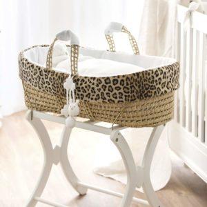 couffin osier habillage fausse fourrure léopard