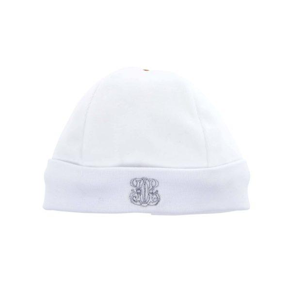 Bonnet velours blanc et gris