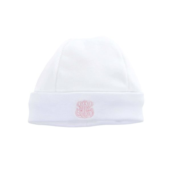 Bonnet velours blanc et rose