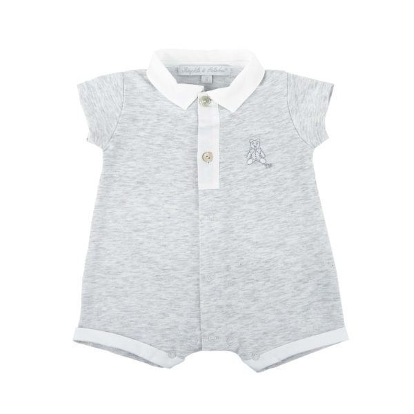 Combi court col polo gris