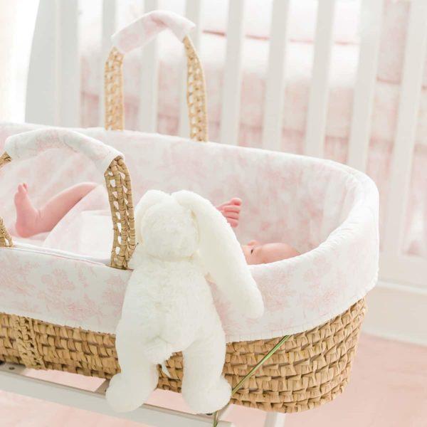 Couffin osier et Habillage Sweet Pink