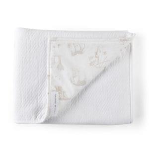 Couverture-châle 100x135cm blanc, safari, arrière imprimé
