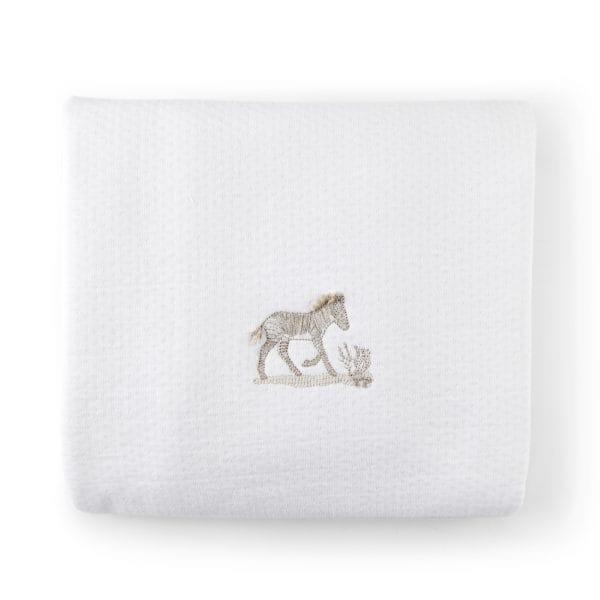 Couverture-châle 100x135cm blanc, safari