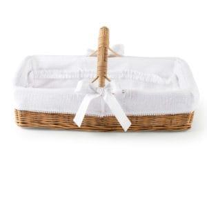 Panier de soins en osier naturel avec anse, Cotton White