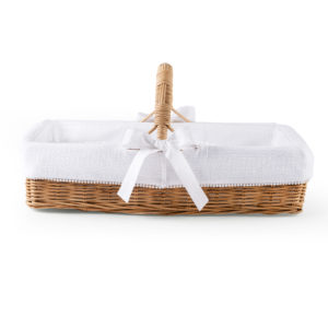 Natural wicker care basket with handle, Cotton White