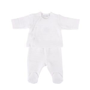 Ensemble brassière et culotte botte bébé, blanc