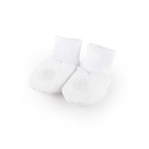 White padded jersey baby booties