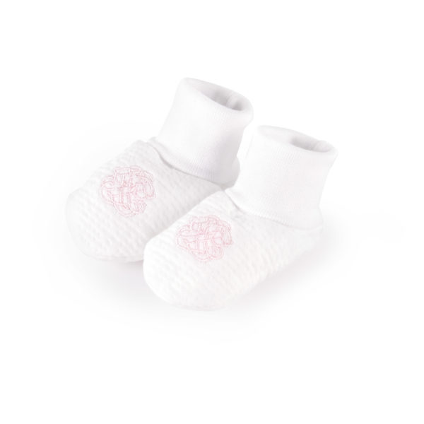 white and pink padded jersey baby booties