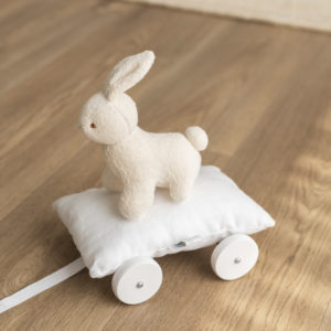 Bunny with wheels, beige and white