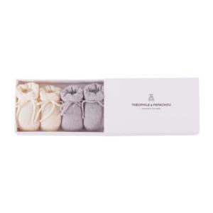 Coffret chaussons ivoire et gris