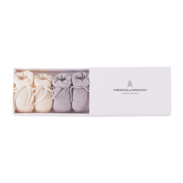 Giftbox Baby Booties Grey and Ivory