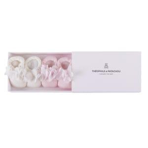 Coffret chaussons ivoire et rose