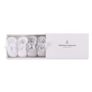 Coffret chaussons blanc et gris